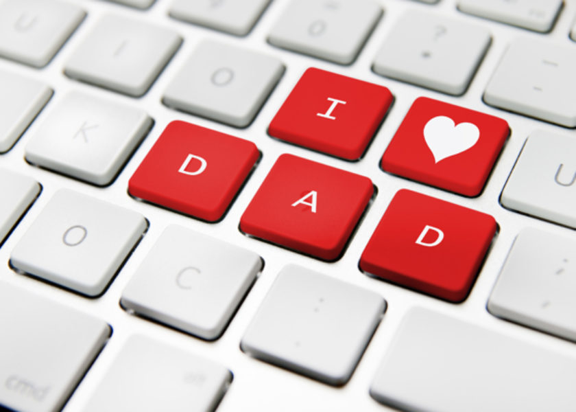 Father's day message on a white keyboard