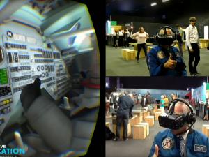 Astronaut Charlie Duke wears an Oculus Rift headset